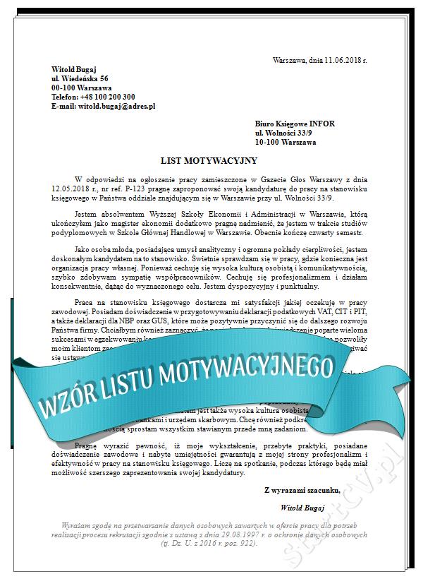 List Motywacyjny Nauczyciel Przedszkola Wzór Startcvpl