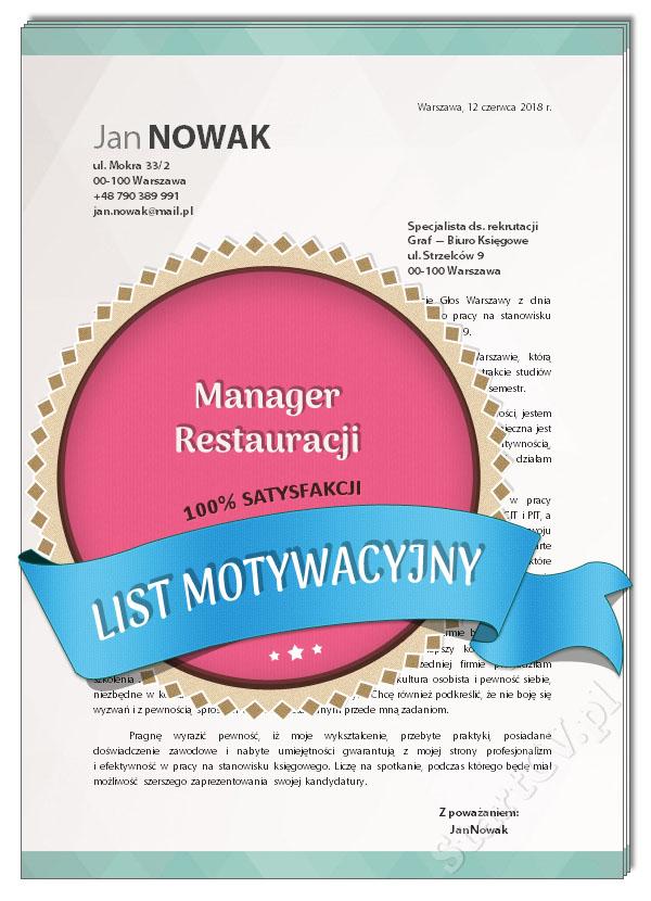 List Motywacyjny Manager Restauracji Wzór Startcvpl