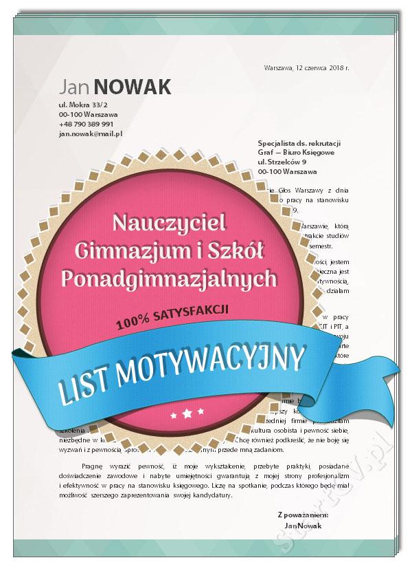 List Motywacyjny Nauczyciel Gimnazjum I Szkół Ponadgimnazjalnych