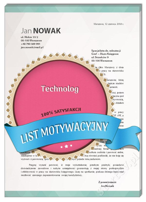 List Motywacyjny Technolog Wzór Startcvpl